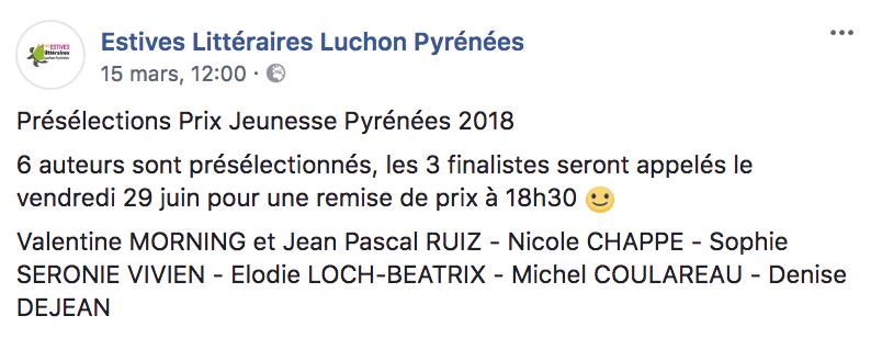 Prix jeunesse Pyrénées 2018